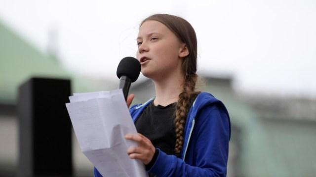 Swedish climate activist Greta Thunberg speaks in Stockholm