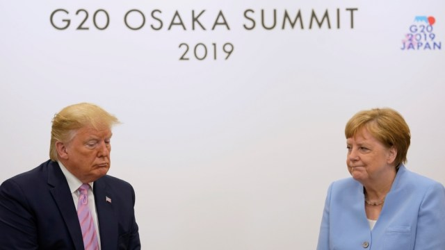 U.S. President Donald Trump holds a bilateral meeting with Germany's Chancellor Angela Merkel at the G20 leaders summit in Osaka, Japan, June 28, 2019