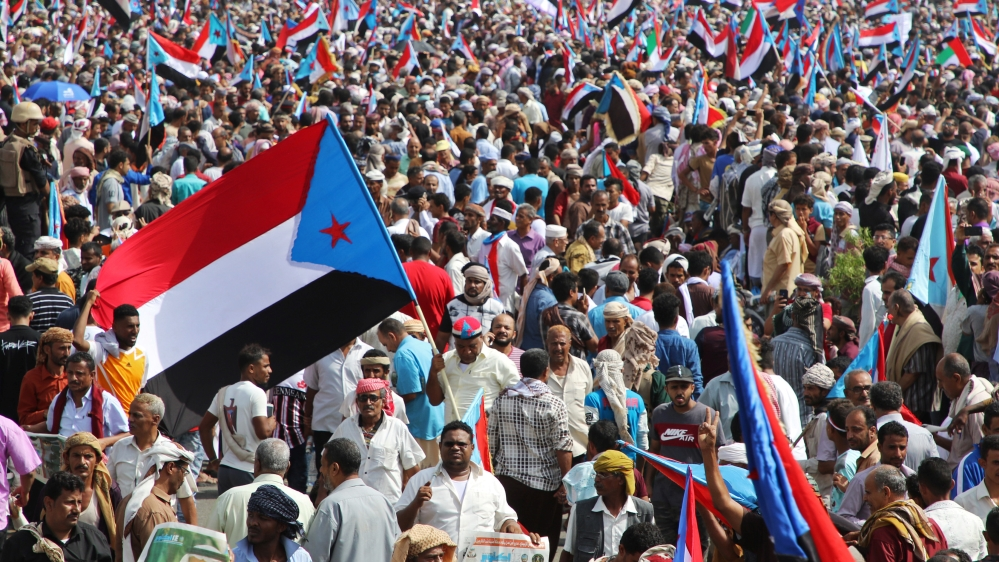 Supporters of Yemen's UAE-backed southern separatists march during a rally in southern port city in Aden