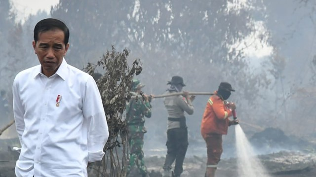 This handout picture taken on September 17, 2019 shows Indonesian President Joko Widodo inspecting the damages from the ongoing forest fires in Pekanbaru. - Indonesia has arrested nearly 200 people ov
