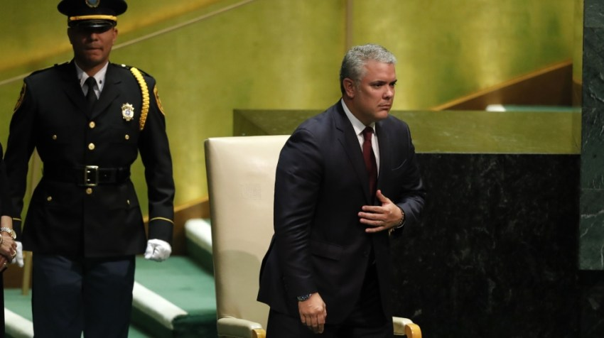 Colombia's President Ivan Duque arrives to address the 74th session of the United Nations General Assembly at U.N. headquarters in New York City, New York, U.S.