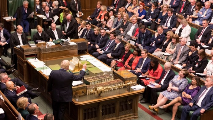 Britain's Prime Minister Boris Johnson speaks at the House of Commons in London, Britain September 3, 2019