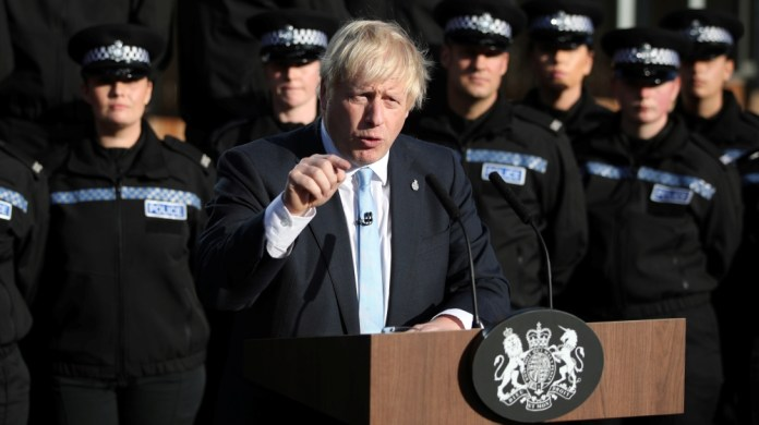 Britain's Prime Minister Boris Johnson, makes a speech during a visit to West Yorkshire, Britain September 5, 2019