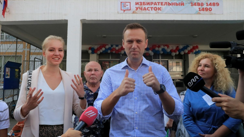 Russian opposition leader Navalny visits a polling station during a local election in Moscow