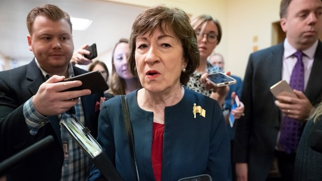 Cory Gardner Sen. Susan Collins, R-Maine, is surrounded by reporters as she rushes to a vote at the Capitol in Washington, Wednesday, Nov. 6, 2019.  (AP Photo/J. Scott Applewhite)