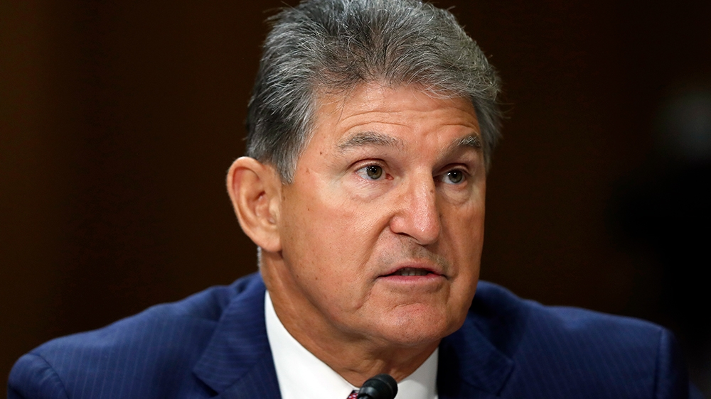 Sen. Joe Manchin, D-W.Va., testifies during a hearing of the Senate Foreign Relations Committee on the nomination of former Utah Gov. Jon Huntsman to become the US ambassador to Russia, on Capitol Hil