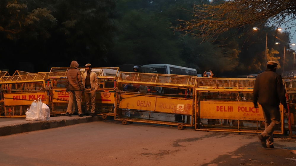 Police installed barricades near a road leading towards JNU Jawaharlal Nehru University in New Delhi India on 06 January 2020 (Photo by Nasir Kachroo/NurPhoto via Getty Images)