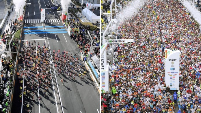 Runners start at the Tokyo Marathon in Tokyo, Japan