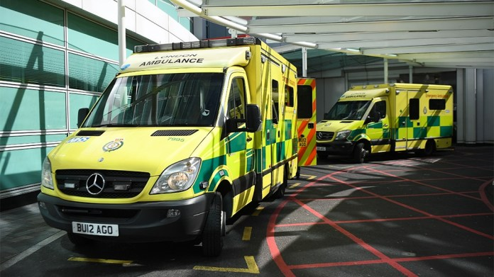 Ambulances outside an NHS centre in London, Britain, 23 March 2020. The NHS is expecting a peak in Coronavirus cases soon, so much so that they will soon be faced with whose life to save. EPA-EFE/ANDY