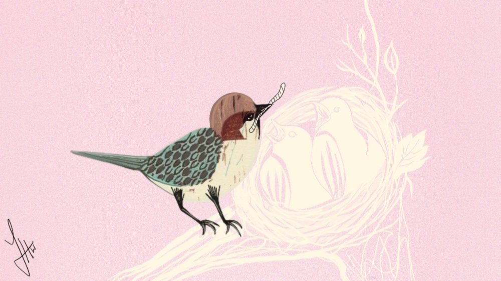 My mother the sparrow - illustrations