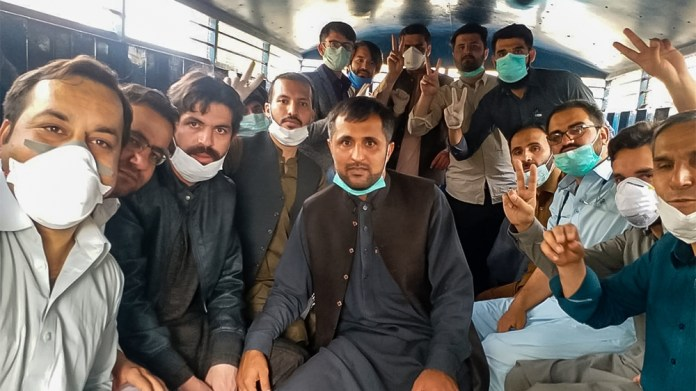 Doctors arrested in Quetta yesterday. [Courtesy of Young Doctors Association]