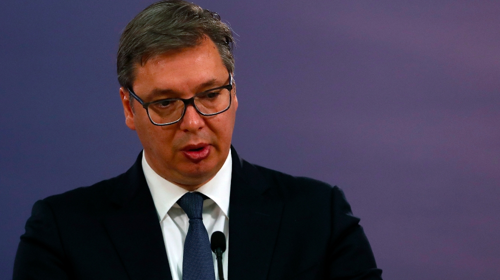 In this photo taken on Thursday, June 18, 2020, Serbia's President Aleksandar Vucic speaks during a joint press conference after talks with Russian Foreign Minister Sergey Lavrov, in Belgrade