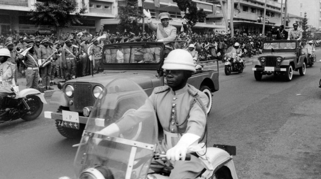 Joseph Kasa-Vubu, first president of the Republic of Congo (ex-Zaïre and now RDC Democratic Republic of Congo) waves to the crowd, on June 30, 1960 during the celebrations of the 5th anniversary of in