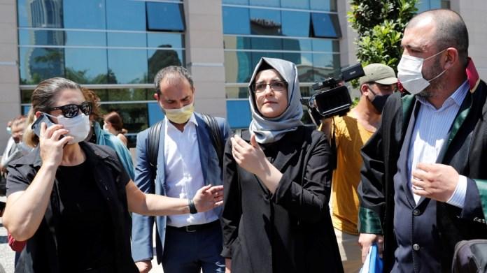 Hatice Cengiz, a fiancee of the murdered Saudi journalist Jamal Khashoggi, leaves the Justice Palace in Istanbul