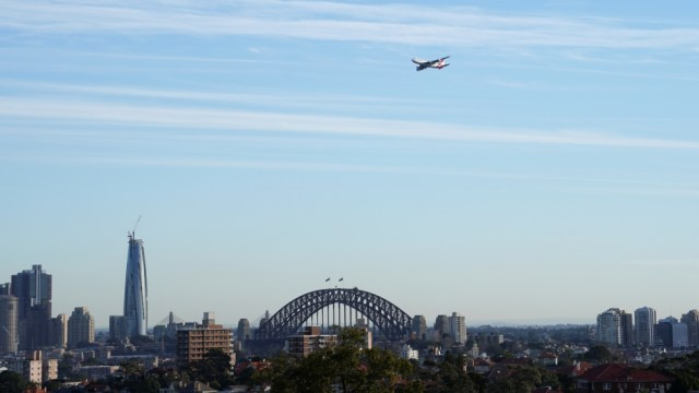 A view shows the last Qantas Boeing 747 jumbo jet that departed from Sydney Airport, in Sydney