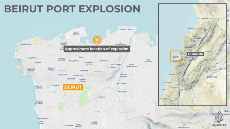 انٹرایکٹو: بیروت دھماکے کا نقشہ