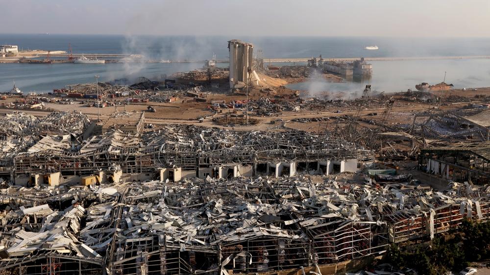 5 اگست ، 2020 کو لبنان کے بیروت بندرگاہ کے علاقے میں منگل کے روز ہونے والے دھماکے کے مقام پر ایک عام نظریہ دکھلا رہا ہے۔ رائٹرز / محمد آذاکیر