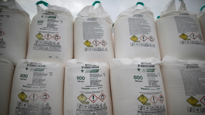 Bags containing ammonium nitrate fertilizer are dispalyed at an agricultural trader in Vieillevigne