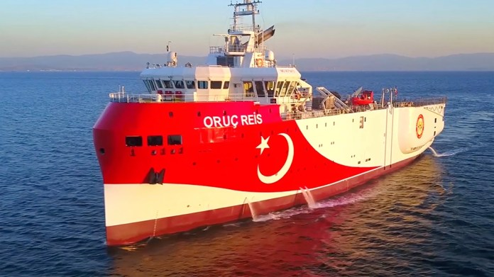 In this photo made from a video provided by the Turkish Energy Ministry on Wednesday, Aug. 12, 2020, Turkey's research vessel, Oruc Reis, is heading in the west of Antalya on the Mediterranean, Turkey