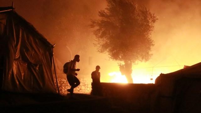 Greece Moria on fire