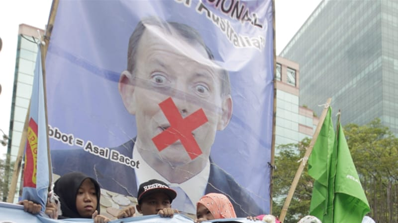 Indonesian activists protest in front of the Australian embassy in Jakarta, Indonesia [EPA]