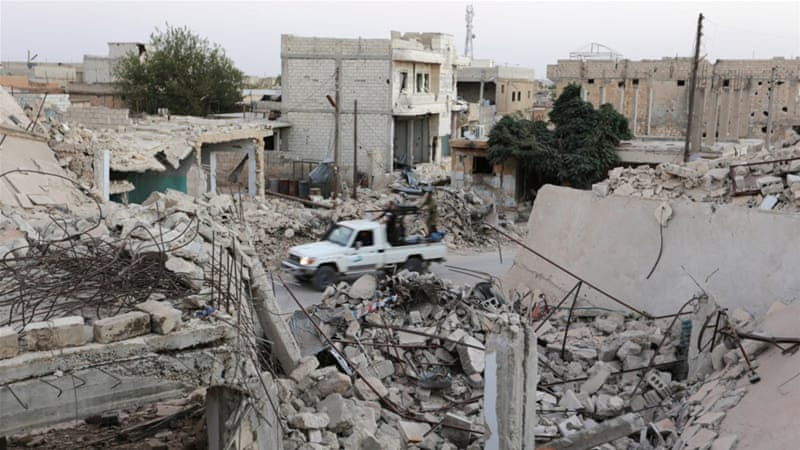 Air strikes mostly hit the Bustan al-Qasr neighbourhood of Aleppo on Tuesday [Reuters/Khalil Ashawi]