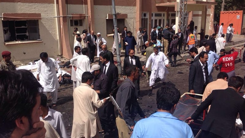 Lawyers were gathered at the hospital to accompany their colleague's body when the blast struck [Saadullah Akhter/Al Jazeera]