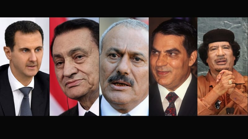 বাশার আল আসাদ, হোসনি মোবারক, আলি আবদুল্লাহ সালেহ, জইন উল আবিদিন বেন আলি, মুয়াম্মার গাদ্দাফি