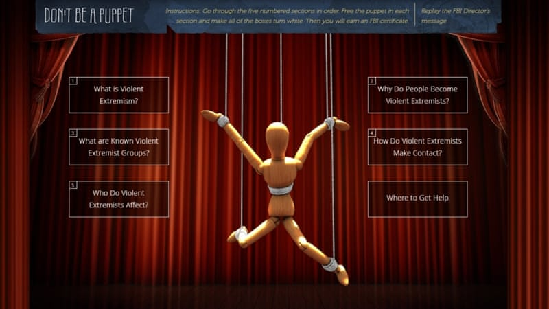 The FBI website still offers a ludicrous online activity called 'Don't Be a Puppet' - designed for use in schools, writes Fernandez [CVE/FBI]