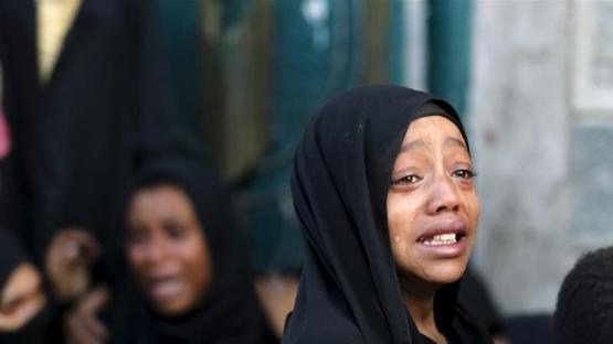 A Yemeni girl cries after her father was killed by a Saudi-led air raid in Yemen's capital Sanaa [Khaled Abdullah/Reuters]