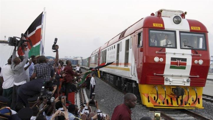 The SGR cargo train in Kenya is one of the projects financed by China in Africa [AP]