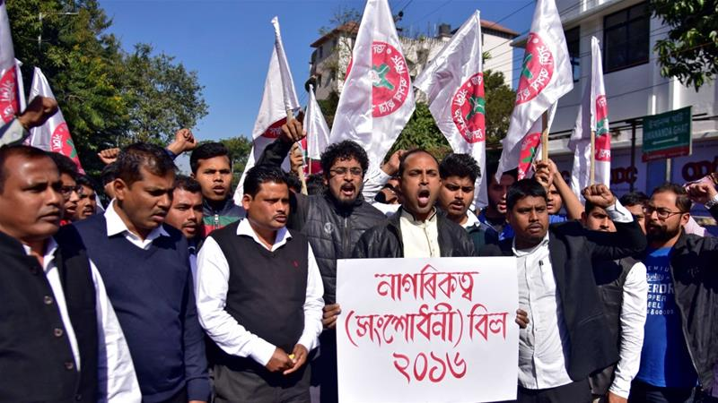 Activists from the All Assam Students Union (AASU) protest against a bill that would give citizenship to non-Muslims from neighbouring countries on January 7 [Reurters/Anuwar Hazarika]