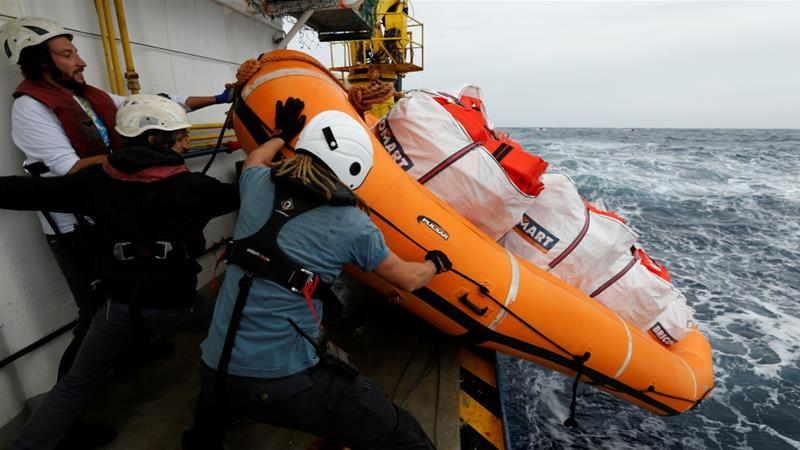 Sea-Watch 3 has been stranded in the Mediterranean with 32 refugees and migrants on board [Darrin Zammit Lupi/Reuters]