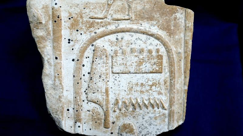 The relief was originally exhibited at the open museum of the ancient temple of Karnak in the city of Luxor. [Egyptian Ministry of Antiquities via AP]