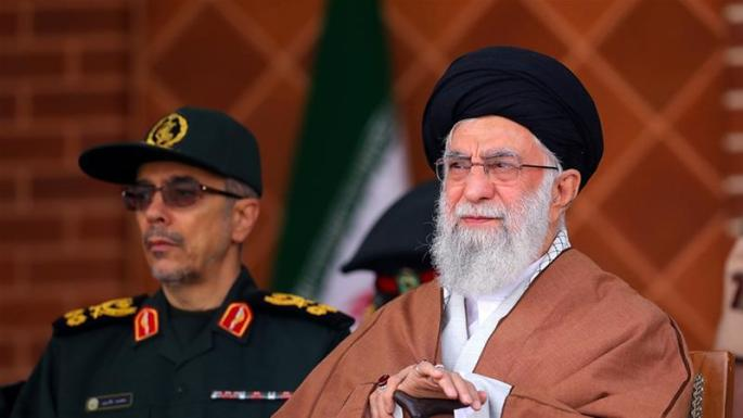 Ayatollah Ali Khamenei accused the US of using the protests to 'send troops' [Office of the Iranian Supreme Leader via AP]