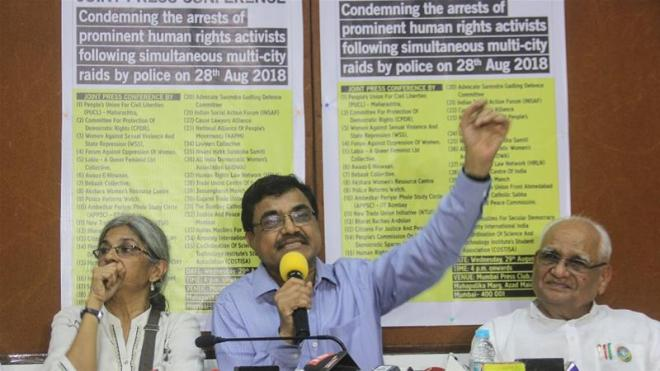 Opposition and human rights groups have condemned the arrests, saying the government wanted to silence critics [Bhushan Koyande/Hindustan Times via Getty Images]