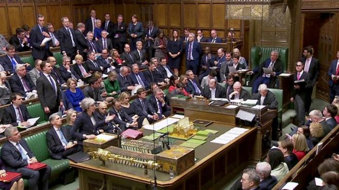 British Prime Minister Theresa May speaks ahead of a vote on Brexit in Parliament in London, Britain, March 13, 2019 [Reuters TV]