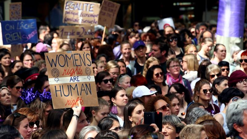 women rally for equal