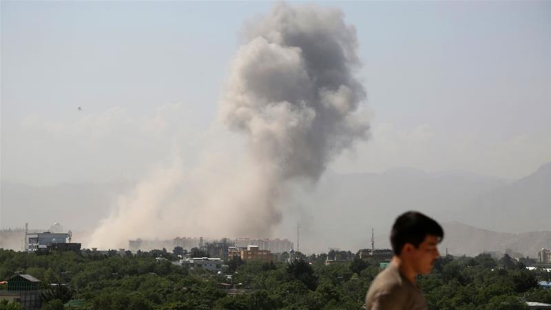 Interior ministry spokesman Nasrat Rahimi said the blast hit a densely populated area where the ministry of defence is located [Rahmat Gul/AP Photo]