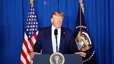 Trump comments at a press conference following the US military killing of Iranian General Qassem Soleimani in Baghdad, Iraq [Tom Brenner/Reuters]