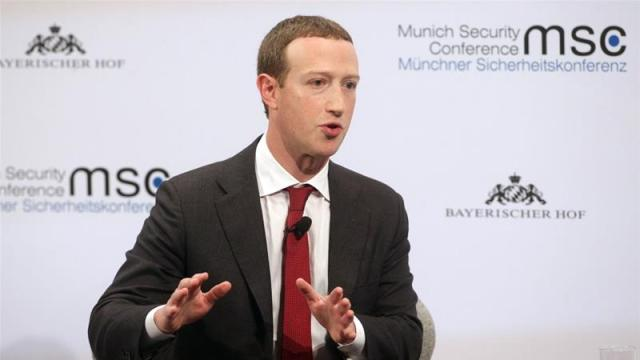 Facebook founder and CEO Mark Zuckerberg speaks during a panel talk at the 2020 Munich Security Conference on February 15, 2020 [Johannes Simon/Getty Images]