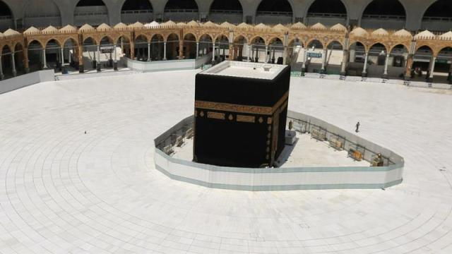 General view of the Kaaba at the Grand Mosque in Mecca with restrictions being placed on prayers [Ganoo Essa/Reuters]