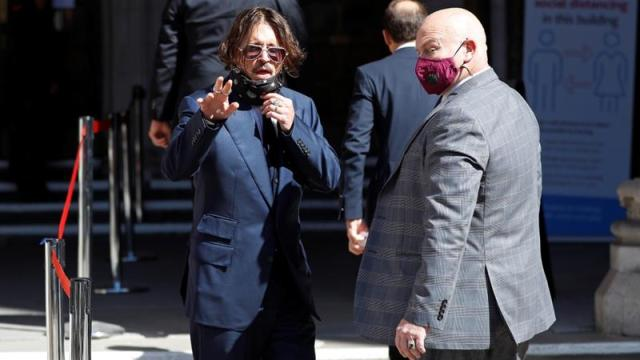 Actor Johnny Depp arrives at the High Court in London [Peter Nicholls/Reuters]