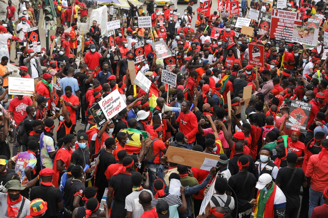 Last month, the main opposition party National Democratic Congress (NDC) rallied several thousand people in the capital. [Nipah Dennis/AFP]