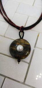 Tiger eye pendant with stringed chain