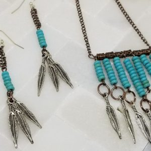 Boho Style necklace with earrings