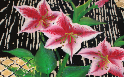 Learn to paint: Bright pink Azaleas over a mixed media background