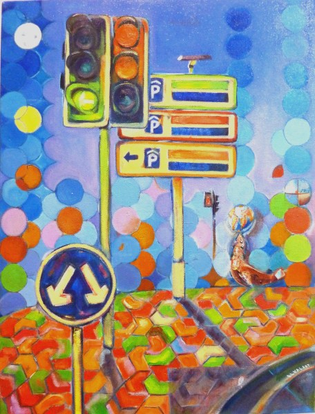 Crossroad 60x45cm. Oil and Acrylics on deep edge canvas. Sirocco Collection. ALKALART