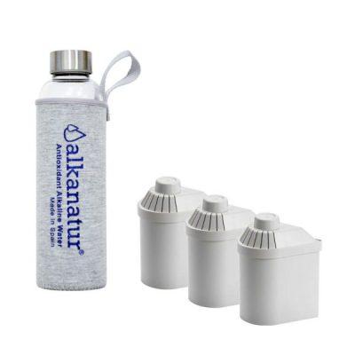 Pack de 3 filtros más botella de cristal de borosilicato