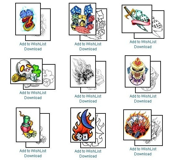 Here is a small sample of tattoo designs available from one online site: